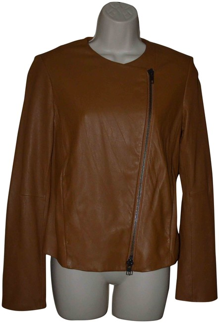 Item - Brown S Asymmetrical Zipper Jacket Size 4 (S)