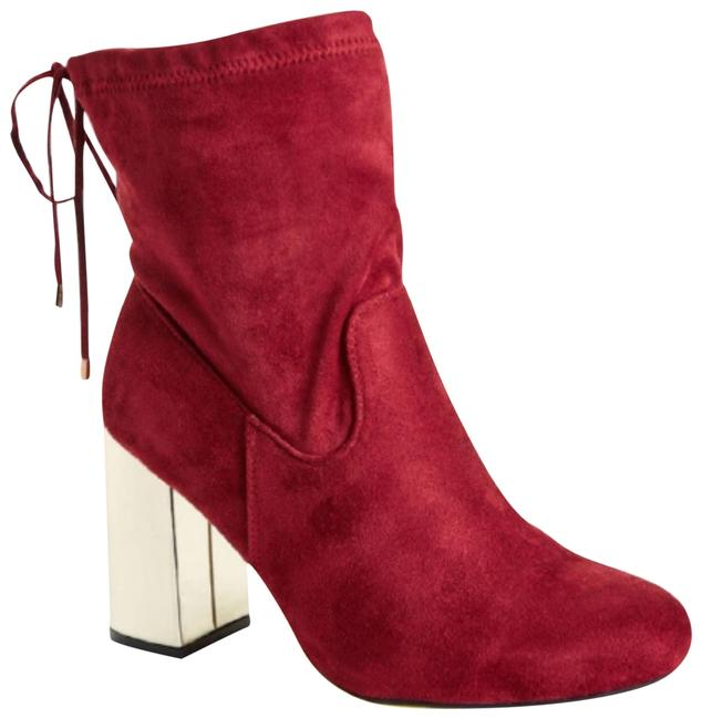 Item - Red Burgundy ☆ Faux Suede ☆ Gold Heel ☆ 10w Boots/Booties Size US 11 Wide (C, D)
