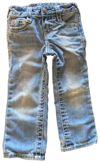 Item - Distressed Light Washed Denim Straight Leg Jeans Size OS (one size)