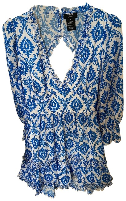 Item - Blue and White Short Casual Dress Size 8 (M)