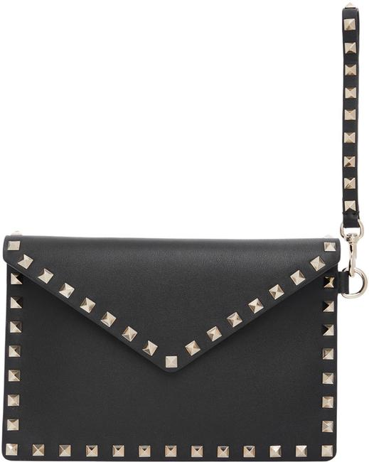 Item - Clutch New Rockstud Purse Black Leather Wristlet