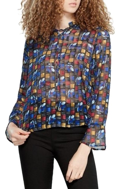 Item - Blue Red Yellow Multi-color Printed Fil Blouse Size 0 (XS)