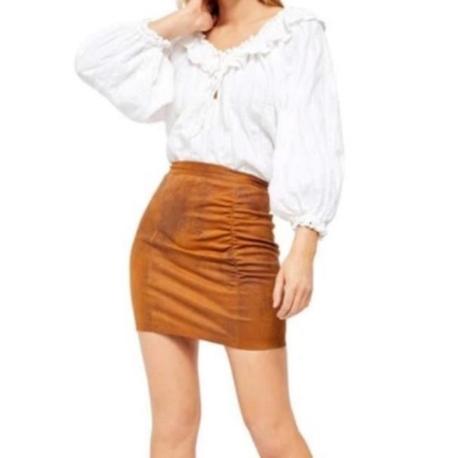 Item - Brown Rumi Ruched Faux Leather Skirt Size 12 (L, 32, 33)