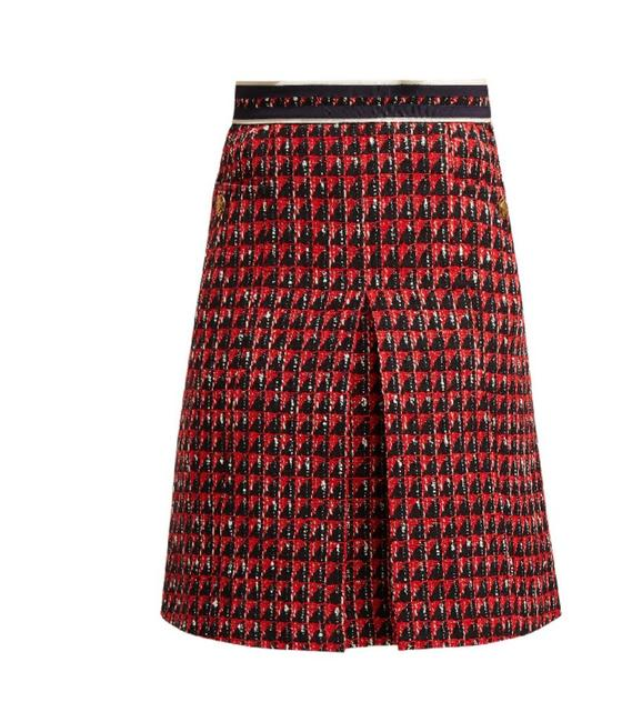 Item - Red Multi High-rise Geometric Tweed Skirt Size 4 (S, 27)