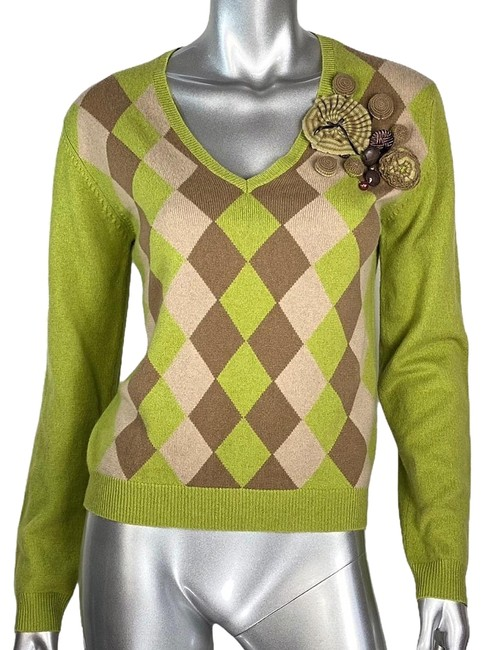 Item - L Cashmere Argyle Green Sweater