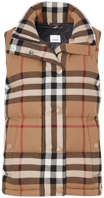Item - Brown Checked Quilted Cotton Down Vest Size 12 (L)