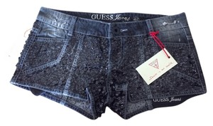 Guess Sequin Denim Jeans Party Mini/Short Shorts Black