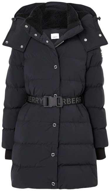Item - Black Belted Hooded Quilted Shell Down Coat Size 2 (XS)