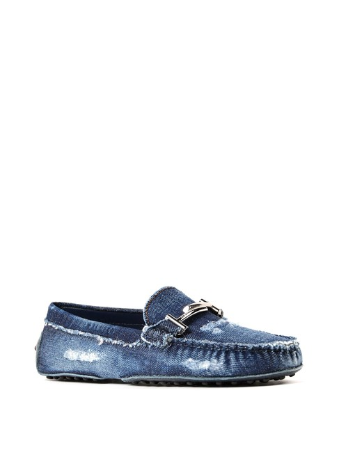 Item - Blue Men Double T Worn Out Denim Loafers Flats Size US 11 Regular (M, B)