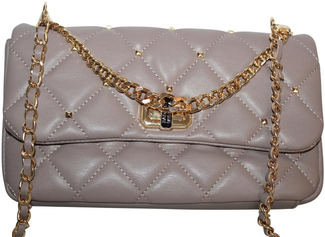Item - Diamond Quilted & Studs On Cover Taupe Gold Vegan Leather Cross Body Bag
