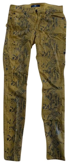 Item - Yellow Coated Snakeskin Skinny Jeans Size 0 (XS, 25)