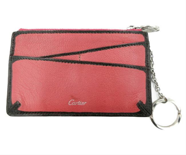 Item - Red Color Leather Coin Case with Key Ring Wallet