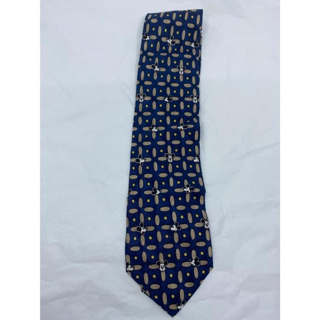 Item - Blue Tan Mickey Mouse Neck Hand Made Silk Tie/Bowtie