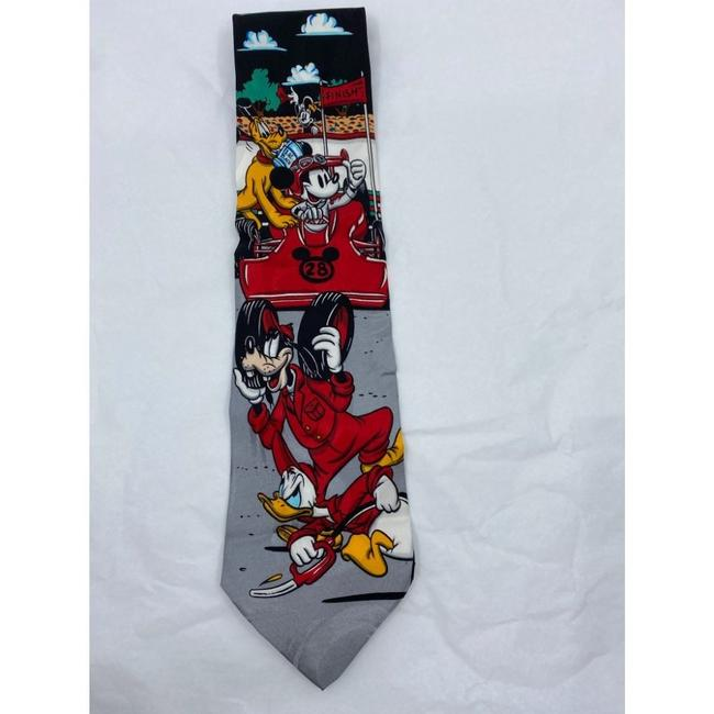 Item - Gray Red Orange Mickey Mouse Neck Hand Made Silk Tie/Bowtie