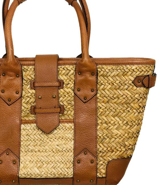 Item - Bag Straw Snd Leather Brown Tote