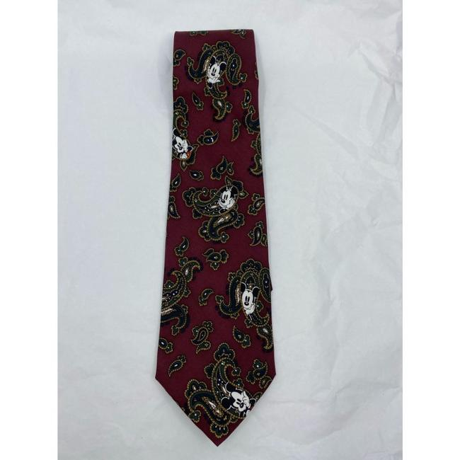 Item - Red Green Beige New Mickey Mouse Silk Handmade Tie/Bowtie