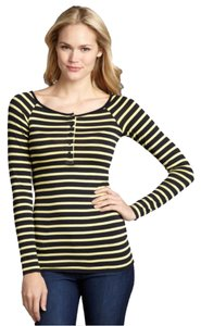 Bailey 44 Scoop Neckline Longsleeve Lightweight T Shirt Yellow Canary & Navy Blue Striped