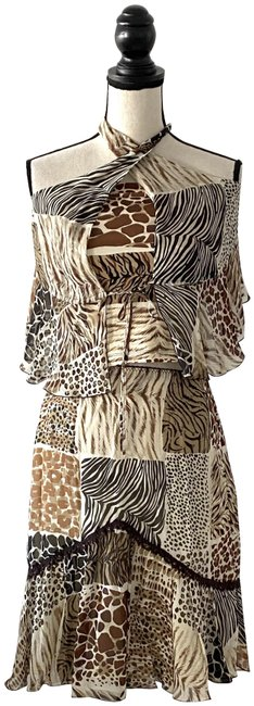 Item - Brown Beige Animal Print Skirt Set Blouse Size 8 (M)