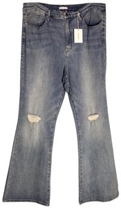 Good American Plus Retro 70's Light Wash Gf899t Flare Leg Jeans-Light Wash