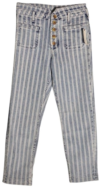 Item - Blue & White Acid Pilcro Washed Striped New Skinny Jeans Size 27 (4, S)