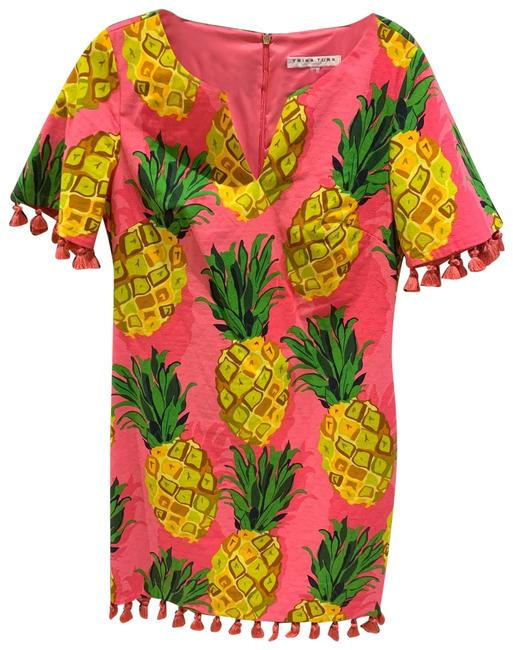 Item - Pink Green and Yellow Resort Pineapple Short Casual Dress Size 8 (M)