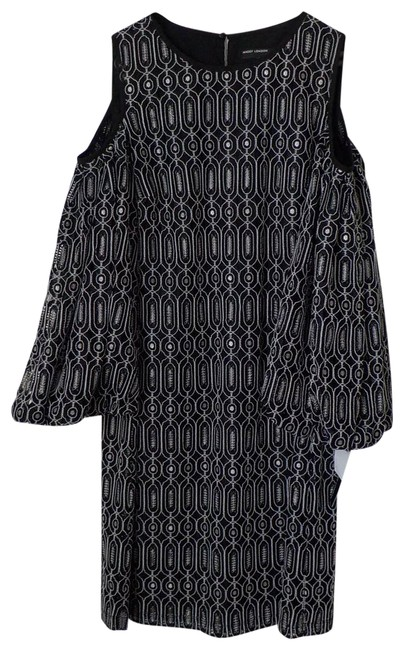 Item - Black Novelty Geo Lace Cold Shoulder New with Tag Short Cocktail Dress Size 6 (S)