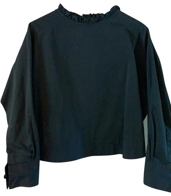 Item - Navy Ruffle Back Button Blouse Size 8 (M)