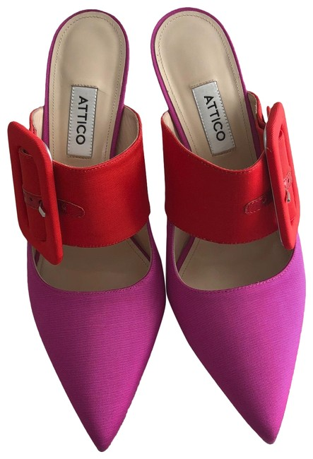 Item - Pink/Red Chloe Fabric Buckle Strap Mule Pumps Size EU 40 (Approx. US 10) Regular (M, B)
