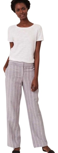 Item - Grey White Pinstripe Relaxed Trousers Pants Size 12 (L, 32, 33)
