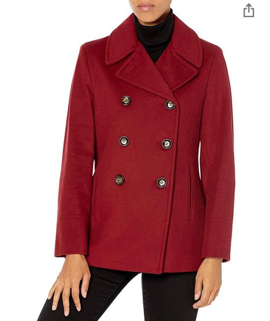 Item - Red Women Buble Breasted Coat Size Petite 6 (S)