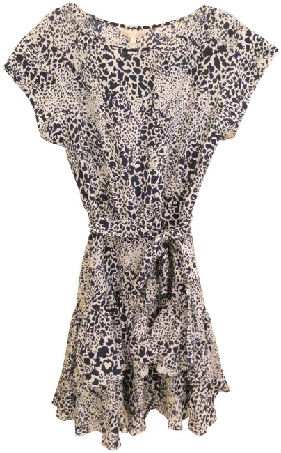 Rebecca Taylor Blue Leopard Tiered Ruffled Silk New with Tags Short Casual Dress Size 6 (S) Rebecca Taylor Blue Leopard Tiered Ruffled Silk New with Tags Short Casual Dress Size 6 (S) Image 1