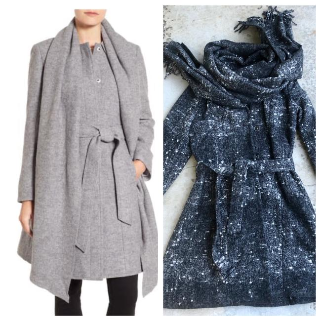 Item - Gray Wool Belted Scarf Coat Size 12 (L)