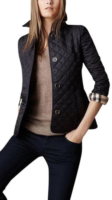 Burberry Black Ashurst Quilted Check Coat Jacket Size 4 (S) Burberry Black Ashurst Quilted Check Coat Jacket Size 4 (S) Image 1