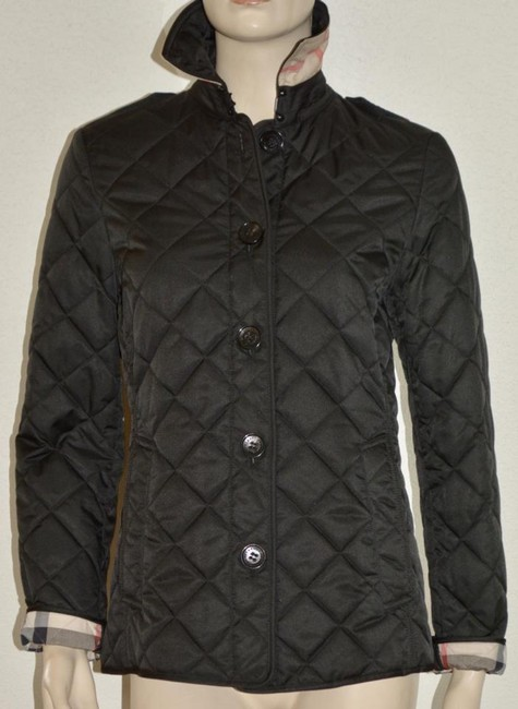 Burberry Black Ashurst Quilted Check Coat Jacket Size 4 (S) Burberry Black Ashurst Quilted Check Coat Jacket Size 4 (S) Image 3