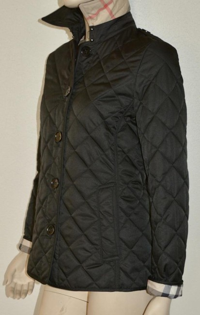 Burberry Black Ashurst Quilted Check Coat Jacket Size 4 (S) Burberry Black Ashurst Quilted Check Coat Jacket Size 4 (S) Image 4