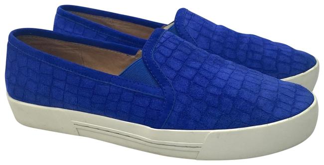 Item - Blue Lush Croc-embossed Suede Sets A Luxe Tone For 's Of-the-moment Slip On Kicks. Round Toe; Slip On; Elastic Stretch In Flats Size US 6.5 Regular (M, B)
