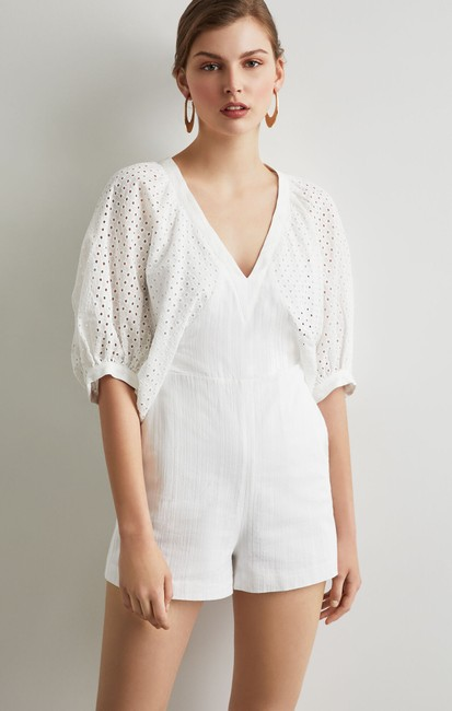 Item - White Zipper Embroidered Puffy Sleeves Romper/Jumpsuit