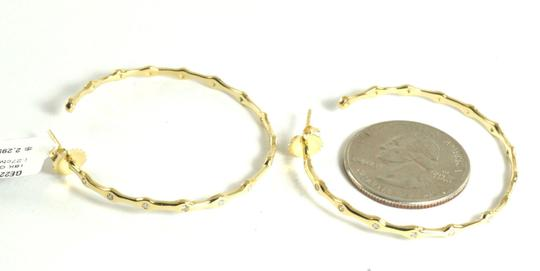 Ippolita IPPOLITA 18K YELLOW GOLD #3 DIAMOND STARLIGHT HOOP EARRINGS 1.5""