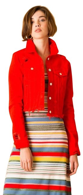 Item - Red Cara Cropped Distressed Jean Small Jacket Size 4 (S)