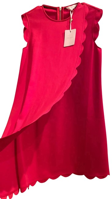 Item - Red Scallop Overlay Mid-length Cocktail Dress Size 6 (S)