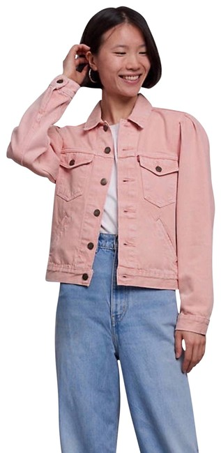Item - Pink W New Trucker W/Puff Sleeves Jacket Size 4 (S)