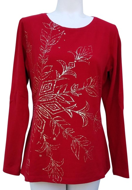 Item - Red with Gold Foil Print Christmas T-shirt Tee Shirt Size 10 (M)