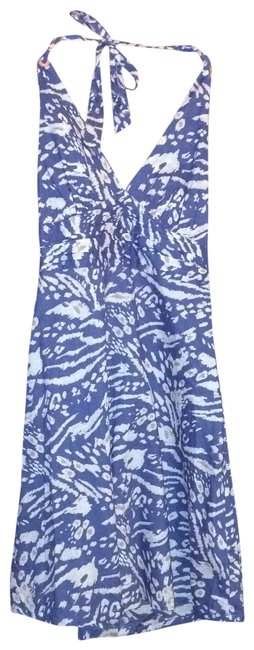 H&M short dress blue with tan designs on Tradesy