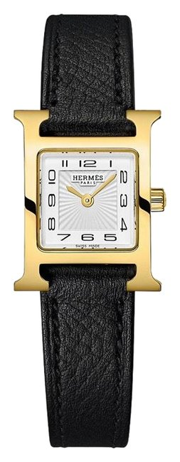 Item - Black Full Gift Set Heure Hour H 17.2 X 17.2 Mm Gold Hardware Epsom Leather Strap Watch