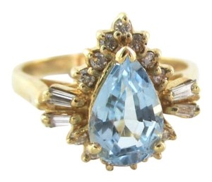 14KT SOLID YELLOW GOLD RING 12 DIAMONDS 1 BLUE STONE SZ 6.5 PEAR SHAPE WEDDING
