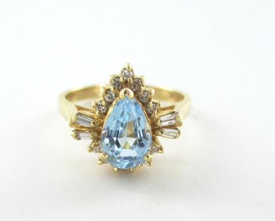 Other 14KT SOLID YELLOW GOLD RING 12 DIAMONDS 1 BLUE STONE SZ 6.5 PEAR SHAPE WEDDING