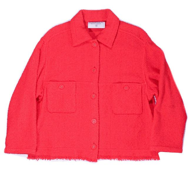 Item - Red 1996 Spring Cc Semi Cropped Jacket Fringe Trim Coat 96p - Us - 4 Blazer Size 8 (M)