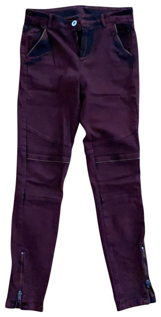 Item - Burgundy Acid Washed with Zips Decoration In Skinny Jeans Size 6 (S, 28)