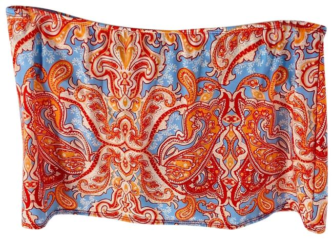 Item - Orange Blue Paisley Print Skirt Womens Bikini Bottom Size 12 (L)