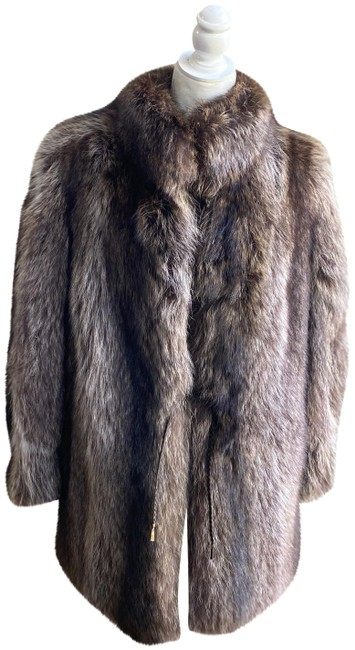 Item - Brown Grey Italian Marmotta Argentata Coat Size 10 (M)